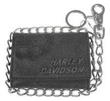 Harley-Davidson® Men's Skull Tri-Fold Biker Chain Black Leather Wallet UN4663L