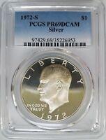 1972 S Eisenhower IKE PCGS PR 69 DCAM SILVER Dollar Proof DMPL PL DPL PF CAMEO