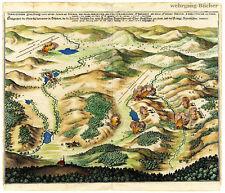 Merian, kolorierter Kupferstich v. 1647. Schlacht bei Jankau aus der Vogelschau