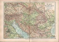 1895 VICTORIAN MAP ~ BASIN OF DANUBE ~ HUNGARY ROMANIA BOSNIA BULGARIA VIENNA