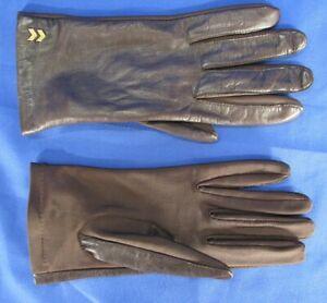ISOTONER ARIS Vintage DARK BROWN GLOVES Stretch Knit & THIN SOFT LEATHER One Sz