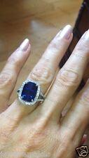 Blue Sapphir Cushion Cut Diamond Engagement & Wedding Ring 925 Sterling Silver