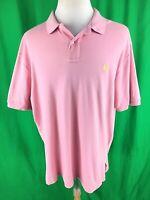 Polo Ralph Lauren Mens Button Polo Shirt Sz XL Pink Short Sleeve Rugby Pony