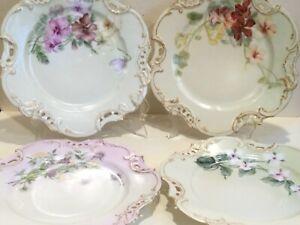 "MR Limoges France Set of 4 Beautiful Porcelain Dinner Plates 9"" w/Flowers,marked"