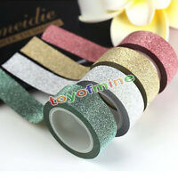 5M Glitter Washi Sticky Paper Masking Adhesive Tape Label DIY Craft Decorative
