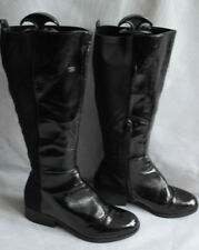 TU WOMENS BLACK PULL ON/ZIP SYNTHETIC UPPER CALF BOOTS SIZE:4/37(WB1354)