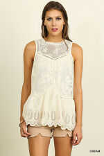 NWT Umgee Medium Cream Sleeveless A Line Lace Top