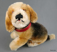 Steiff Biggie Beagle Dog Mohair Plush Sitting 10 cm Red Collar 1960s no ID Vtg