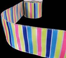 "3 Yards Cupcake Stripes Cake Birthday Party Satin Wired Ribbon 2 1/2""W"