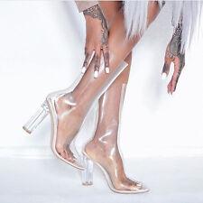 Ladies Designer Inspired Perspex Yeezy Plexi-Heel Boots UK Size 6
