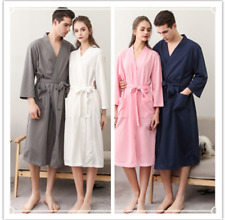 6f783e6a07 Mens   Ladys Soft Waffle Lounge Bathrobe Nightwear Kimono Short Dressing  Gown UK