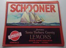 WHOLESALE 25 LARGE SCHOONER SAILING SHIP LEMON CRATE LABELS CIRCA 1930
