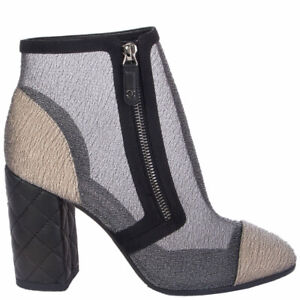 63093 auth CHANEL grey mesh & gold BLOCK HEEL Ankle Boots Shoes 38.5