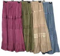 Cotton Skirt Maxi Embroidered Lace Gypsy Boho Casual Festival 10 12 14 16 18 20