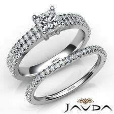1.7ctw Classic Bridal Set Princess Diamond Engagement Ring GIA F-VS2 Gold