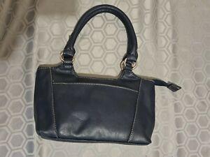 Navy blue faux leather bag-double handles-hand-shoulder bag-zip closure.
