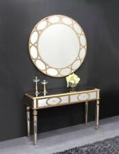 New Stunning Gold Circle Pattern Mirrored Glass 2 Drawer Console Dressing Table
