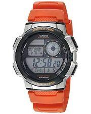 Casio Men's Quartz Gray World Time Digital Orange Resin 48mm Watch AE1000W-4BV