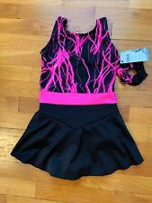 Icings NWT Adult Black and Hot Pink Ice  Roller Skating Dance Baton Dress