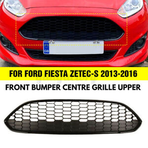 FOR FORD FIESTA MK7.5 2013 - 2016 FRONT BUMPER HONEYCOMBE GRILLE BLACK ZETEC S