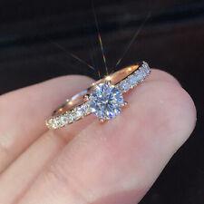 Tiny 925 Silver Round Moissanite Diamond Gems Wedding Rings Women Jewelry Gift