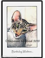 ORIGINAL LARGE ORIENTAL TABBY CAT ART PAINTING BIRTHDAY CARD BY SUZANNE LE GOOD