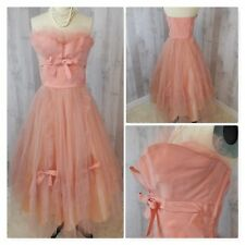 1950s Vintage CUPCAKE DRESS~Pink TULLE PARTY PROM GOWN Strapless Sweetheart S/XS