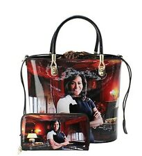 Michelle Obama Magazine Print Studded 2 in 1 Soft Vegan Patent Leather Tote Bag