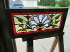 ~ ANTIQUE STAINED GLASS TRANSOM WINDOW COLORFUL ~ 33.75 x 16 ~ SALVAGE ~
