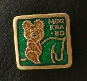 1980 Equestrian Misha Bear Mascot XXII Olympic Games Soviet Pin Badge FEI USSR