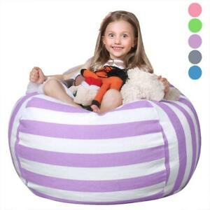 "Kids Bean Bag Chair Stuffed Animal Storage Organizer Bedroom 38"" Purple Girl New"