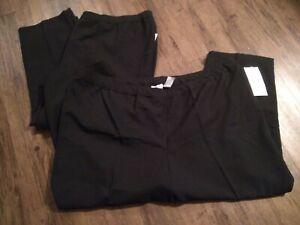 28. NWT Lot 2 Pair Woman's 36WP Solid Black Dress Slacks Pull On Elastic Waist