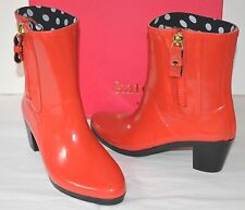 New $175 kate spade New York Penny Red Shiny Rubber Rain Boots sz 8 Rainboot