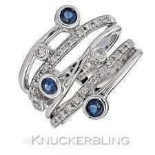 Diamond & Sapphire Multi-Band Design Ring 0.70ct Brilliant Cut & 18ct White Gold