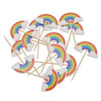 24 pcs Rainbow Cupcake Toppers Picks Birthday Wedding Decoration Party Supplies