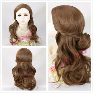 Child Girls Wig Beauty and the Beast Belle Long Wavy brown cosplay wigs For Kids