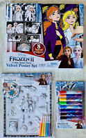 Disney FROZEN 2 Velvet Coloring Poster Set 3D Stickers w/Markers & 8 Markers-NEW