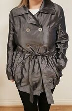 S 14 Grey Gunmetal Jacket Coat Ladies Womens Fitted Lined Double Breasted Belted