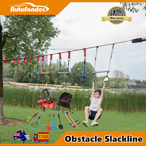 Ninja Warrior Obstacle Course for Kids Slackline Kit/Monkey Bars/Outdoor Games
