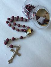 12-Baptism Favors Rosaries Cross Scented Burgundy Recuerdos de Bautizo Rosario