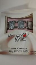 "Memory Maker Photo Frame Bracelet Silver Tone Stretch 7"" Square 3/4"" NIB"
