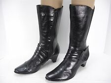 EVERYBODY BY BZ MODA TAMARA BLACK LEATHER SIDE ZIP MID-CALF BOOTS WOMEN'S 38.5