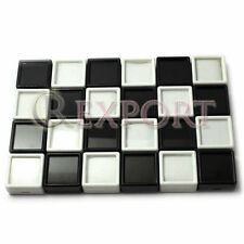 24pcs White & Black Gems Storage Cases Diamond Gemstone Display Jewelry Box