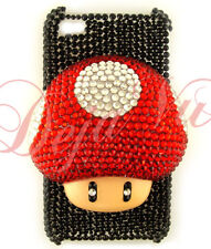 CRYSTAL BLING RHINESTONE 3D BLACK RED MARIO MUSHROOM COVER CASE IPHONE 4 4S