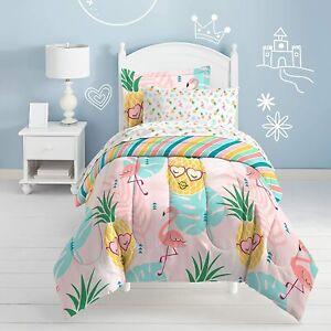 Twin Full Bed Bag Pink Pineapple Flamingo Palm Tropical 7 pc Comforter Sheet Set