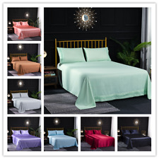 3 Sizes Silk Satin Bed Sheets Pillowcase Mattress Cover Fitted Sheet Soft NEW