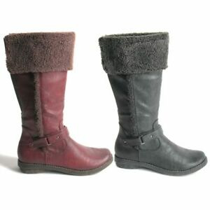 Womens Ladies Winter Boots. Warm Zip Up Fold Down Elasticated Gusset Size UK 3