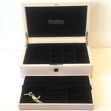 PANDORA Cream Leather Two Tier Medium Size Jewellery Box