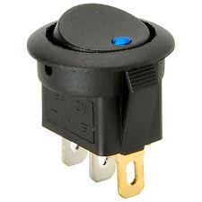 SPST Automotive Round Rocker Switch w/Blue LED 12V