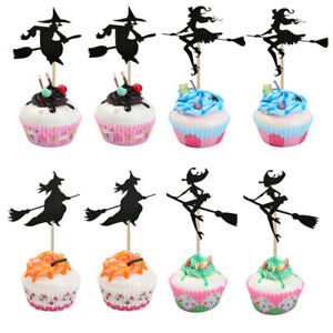 8PCS Halloween Cupcake Toppers A Witch Ride On a Broomstick Cake Inserted Car Fj